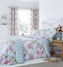 Duck Egg Blue Floral Curtains Catherine Lansfield Canterbury Duck Egg Blue Bedding Collection