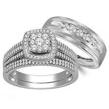 wedding band sets for him and his hers matching cz sterling silver rings wedding band