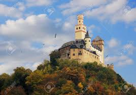 a castle on a hill near the rhine in germany stock photo picture