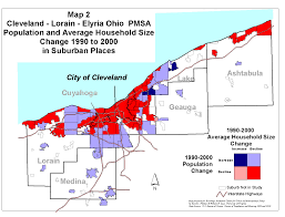 Map Cleveland Ohio by Population Change In Suburbs 1990 To 2000