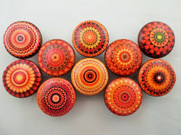 Nautical Kitchen Cabinet Hardware Set Of 10 Orange Mandala Cabinet Knobs Kitchens Drawers And
