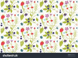 sentimental country floral pattern berries background stock vector