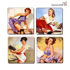 pin up girl home decor set of 4 coasters in cup theme pinup girl wood decoupage