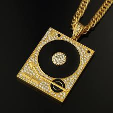 big gold necklace men images Dj phonograph big pendant necklace men jewelry hiphop chain gold jpg