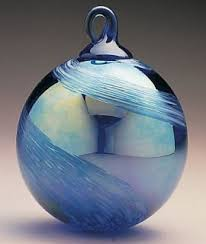 mt st helens volcanic ash blown glass ornament cobalt