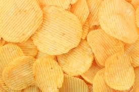 Ripple Chips Golden Potato Chips Background Rippled Stock Photo Picture And
