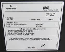new asco 7000 series power transfer switch 600a 208v 3ph automatic