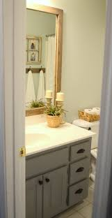 guest bathroom update u2013 stained wood framed bathroom mirror