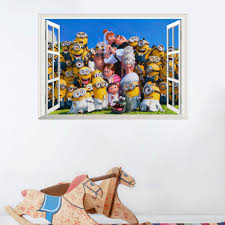 3d wall stickers for kids rooms promotion shop for promotional 3d cute small man minions wall stickers for kids room home decorations diy pvc cartoon decals children gift 3d mural arts posters