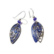 royal blue earrings royal blue pointed leaf filigree earrings by adajio 19 light years
