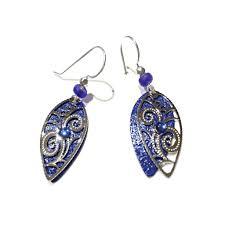 royal blue earrings royal blue pointed leaf filigree earrings by adajio 19 light years