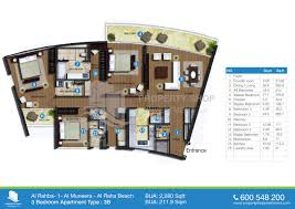 floor plan of 3 bedroom flat floor plan of al rahba al muneera al raha beach