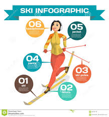infographic with woman cross country skiing winter sports stock