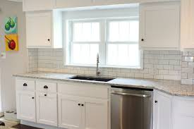 Grout Kitchen Backsplash by Shaker Cabinet Doors Ashen White Granite Tops Undermount Sink