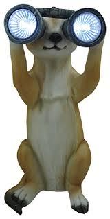 benross gardenkraft solar meerkat with binoculars garden ornament