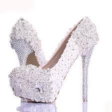 wedding shoes luxury aliexpress buy white lace flower rhinestone wedding