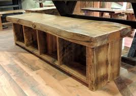 barnwood bench with storage cubbies underneath kitchen dining