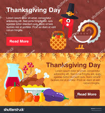 symbols of thanksgiving set colorful banners thanksgiving day consists stock vector