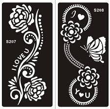 henna tattoo schablone für körper bemalung s207 s208 2 stück