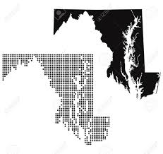 maryland map vector dotted and silhouette maryland map royalty free cliparts vectors