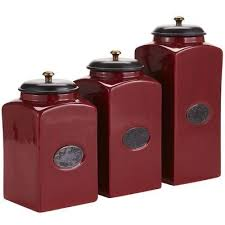 delightful wonderful red canister set for kitchen ceramic kitchen