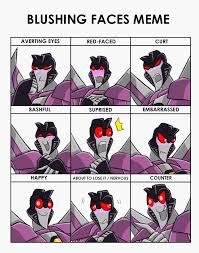 Cute Meme Faces - blushing faces meme starscream by rosey raven on deviantart