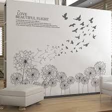 living room wall stickers black dandelion flying with birds wall stickers living room wall