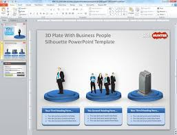 free 3d plate with business sillhoutte powerpoint template