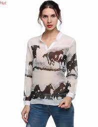 print horses blouses promotion shop for promotional print horses
