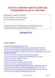 toyota t100 service repair workshop manual 1993 1998 pdf by suu
