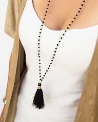 black necklace long images Long necklace with tassel wholesale double chains tassel pendant jpg