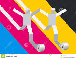 paper people running on print colors background stock vector
