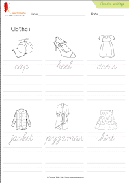 accessories and clothes words cursive handwriting worksheets