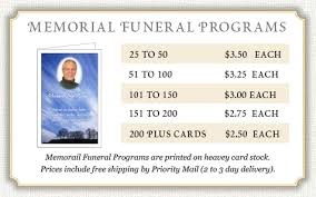 where to print funeral programs price list for memorial prayer cards