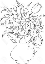 Vase Drawing Bunch Of Flowers Drawing Bouquet Of Summer Flowers In A White Vase