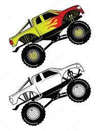monster trucks races cartoon cars coloring book truck race cartoon character u2014 stock vector