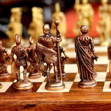 Buy Chess Set by Buy Unravel India Roman Brass Chess Set With Wooden Board Online