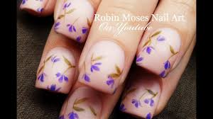 falling lavender flowers diy easy beginner nail art design