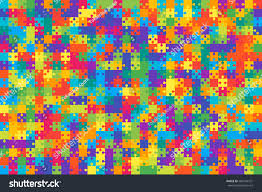 500 multi colored puzzles pieces arranged stock vector 588144761