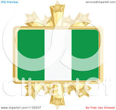 Nigerian Flag Clipart Of A Nigerian Flag With A Golden Stars Frame Royalty