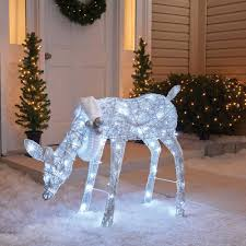 lighted reindeer 42 3d led lighted twinkling feeding deer sculpture american sale