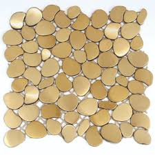 Decorative Metal Sheets Home Depot Solistone Metal Mosaics Metal Mesh Mounted Mosaic