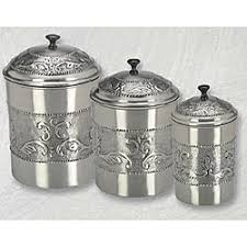 silver kitchen canisters overstock pewter plated 3 embossed steel canister set