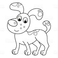 cartoon smiling spotty puppy naughty dog coloring book page stock