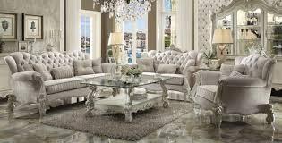 high back sofa ac52105 versailles ivory velvet high back sofa and seat set