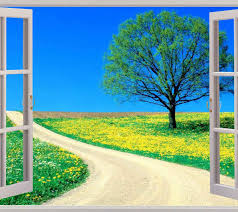 landscape window view repositionable color wall sticker wall mural window enchanted meadow view wall stickers mural art decal wallpaper