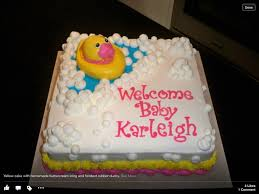 rubber ducky themed baby shower cake all edible duck lettering and