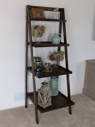 Espresso Corner Bookshelf Decorating Rustic Ladder Shape Brown Wooden Bookcase Built With