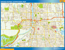 Usa Wall Map by Grand Rapids Downtown Map Netmaps Usa Wall Maps Shop Online