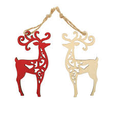 wooden laser ornaments reindeer scandinavianshoppe
